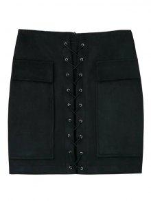 Faux Suede Mini Skirt With Pockets