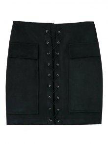 Lace Up Faux Suede Mini Skirt - Black M