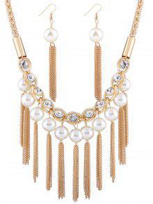 5f58e0a231dd ... Collar de perlas artificiales diamantes de imitación y los pendientes  ...