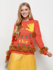 Christmas Bells Embellished Sweater - Orange Red 2xl