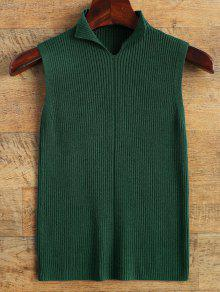 High Neck Vest Ribbed Sweater - Green