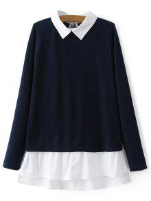Pull à Manches Raglan à  Col-chemise Panneau - Bleu Violet M