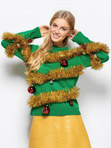 Christmas Crew Neck Pullover Sweater - Green L