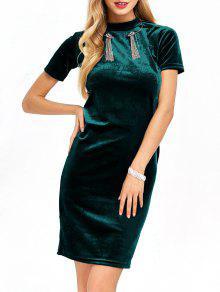 Short Sleeve Velvet Dress - Blackish Green S
