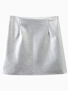 Metal Color PU Cuero Mini Falda - Plata S