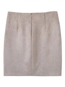 4f3b559195 24% OFF] 2019 Lace Up Faux Suede Mini Skirt In OFF-WHITE | ZAFUL