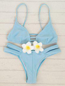 Solid Color Cami Bandage Bikini Set - Light Blue S