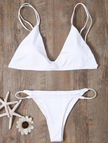 Low Waisted Spaghetti Straps Bikini Swimwear - White S