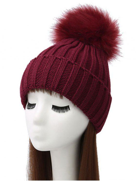 online Flanging Pom Ball Knitted Beanie - WINE RED