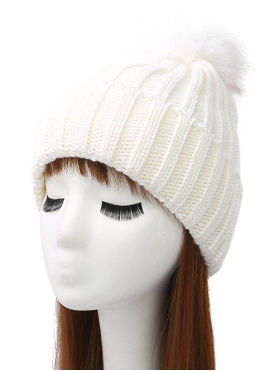Bonnet tricot rabattu embelli pompon - Blanc