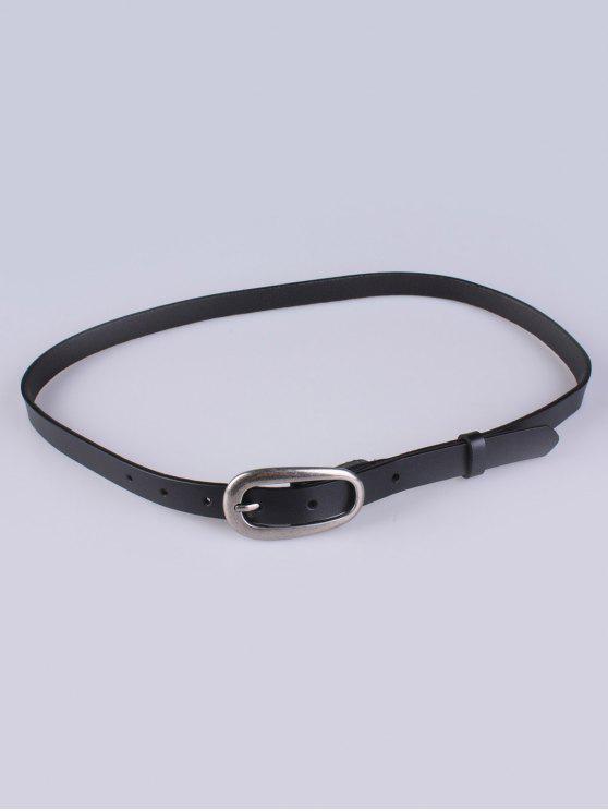 Imitación de cuero Hebilla Cinturón fino - Negro