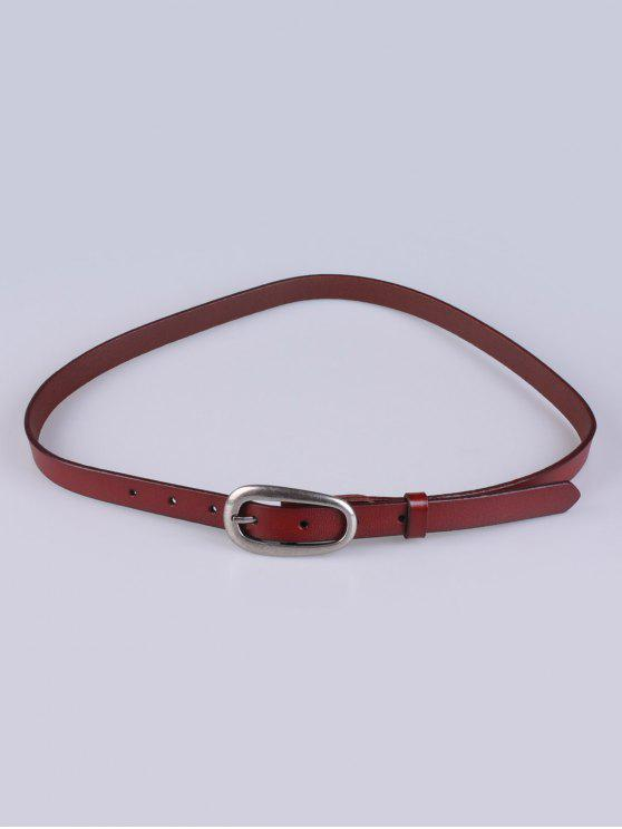 best Faux Leather Pin Buckle Skinny Belt - BROWN