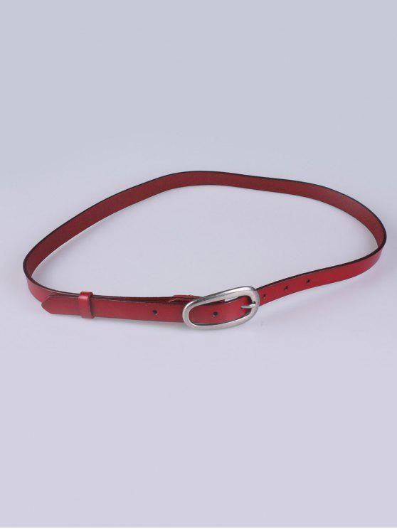 online Faux Leather Pin Buckle Skinny Belt - BURGUNDY