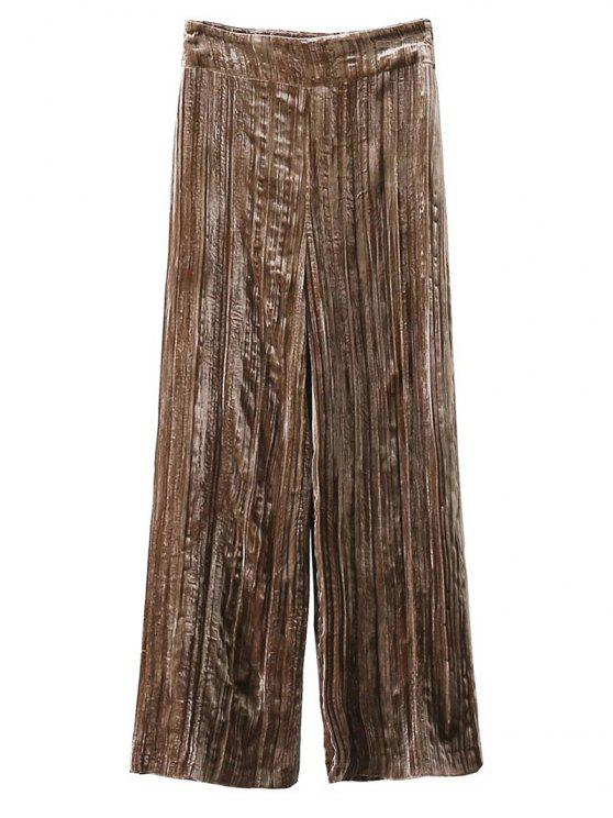 shop Velvet Pleated Pants - KHAKI L