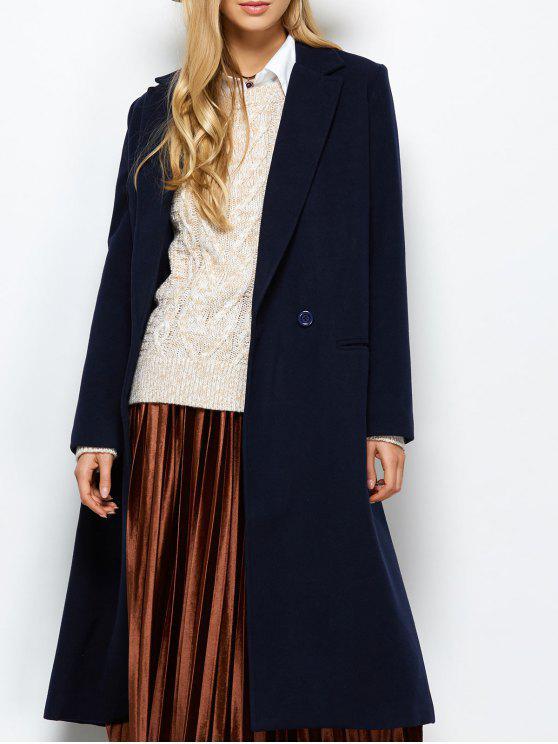 hot Laple Collar Maxi Coat - PURPLISH BLUE M