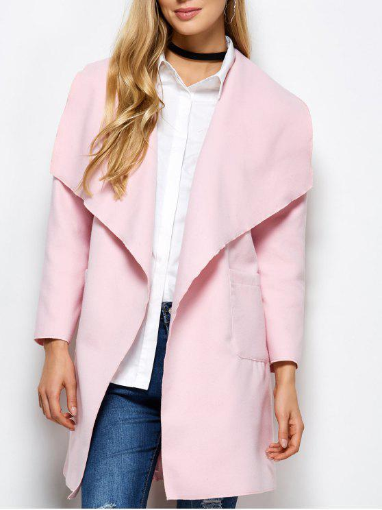 trendy Wrap Woolen Coat With Pockets - PINK M