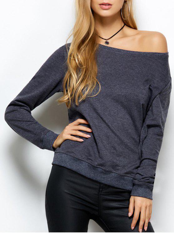 latest Loose Skew Neck Sweatshirt - GRAY L