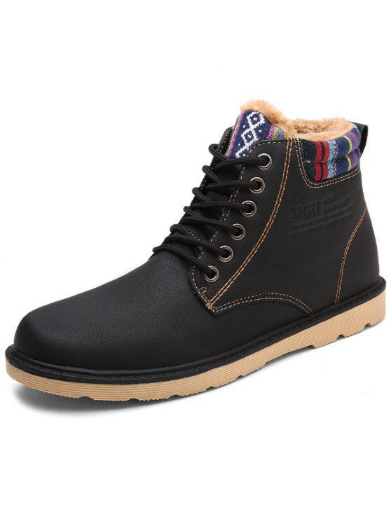 c0cd7bd4da9 Tie Up Striped Pattern PU Leather Boots