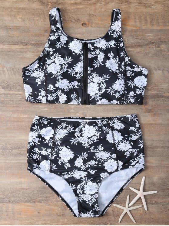 Full Zip Conjunto floral del bikini - Negro XL