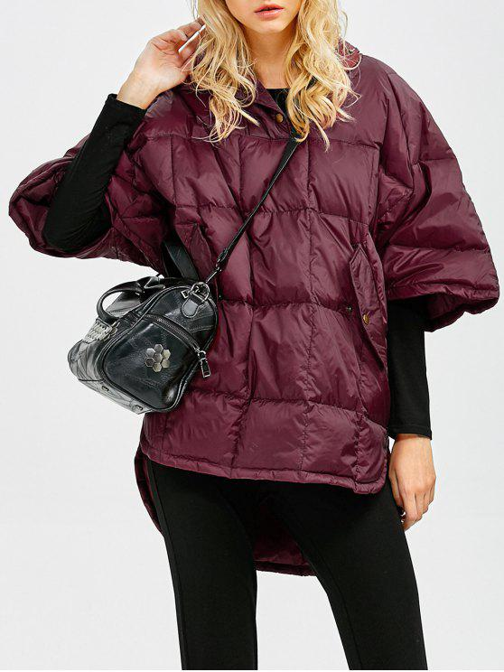 shops Oversized High-Low Down Coat - WINE RED S