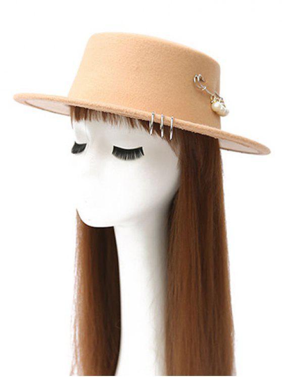 Círculo del aro de imitación de Peal embellecido Sombrero - Beis