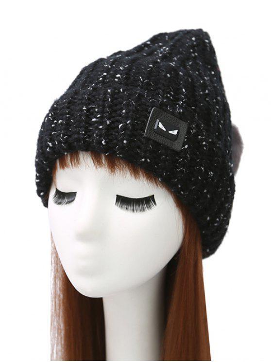 ladies Demon Label Flanging Knit Hat - BLACK