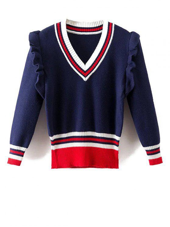 Gestreifte Rüschen V-Ausschnitt Pullover - Blau L