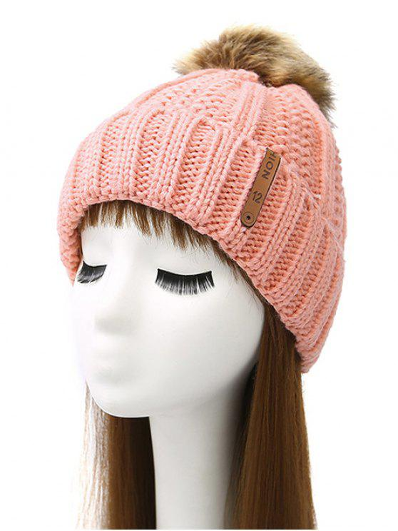 fancy Striped Pom Ball Knitted Beanie - PINK