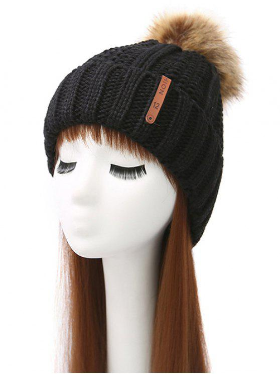 unique Striped Pom Ball Knitted Beanie - BLACK