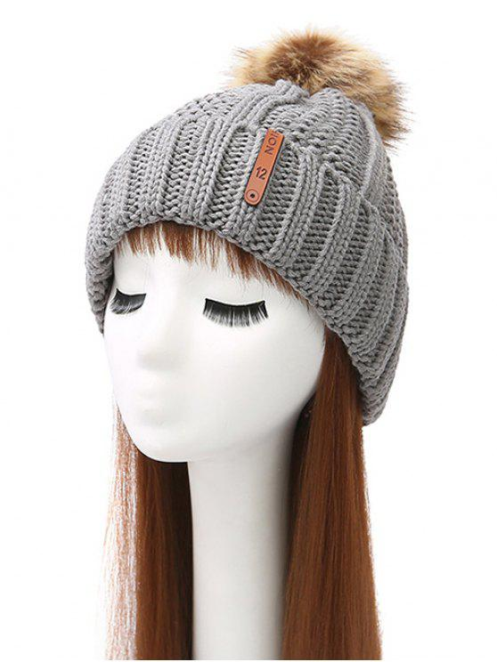 womens Striped Pom Ball Knitted Beanie - GRAY