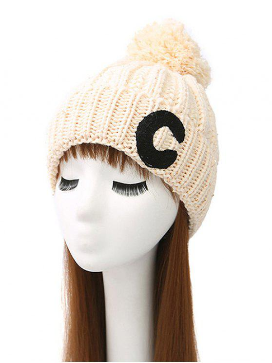 women's Letter C Pom Ball Knitted Beanie - BEIGE