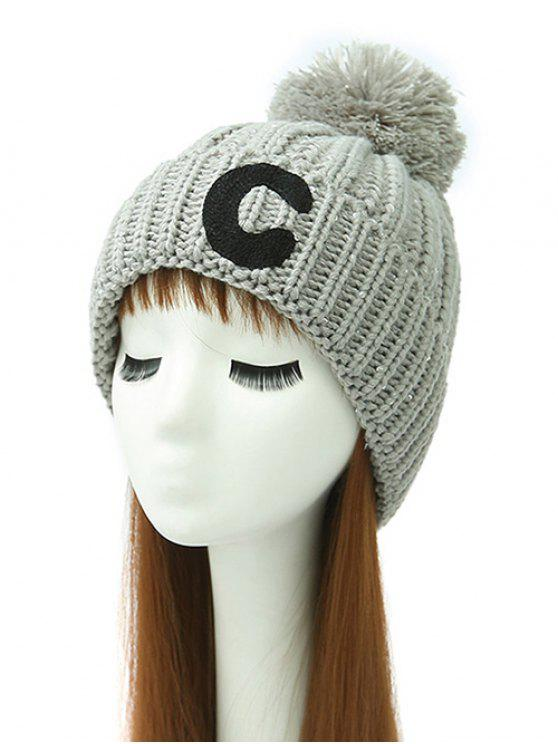 ladies Letter C Pom Ball Knitted Beanie - GRAY