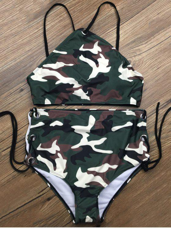 outfits Lace Up High Waisted Camo Swimsuits - CAMOUFLAGE COLOR S