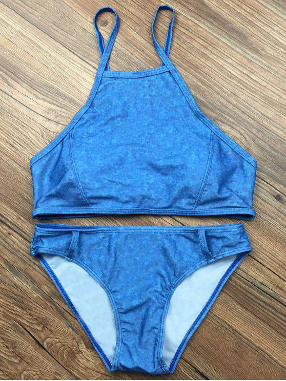 fancy Padded High Collar Bikini Set - BLUE M