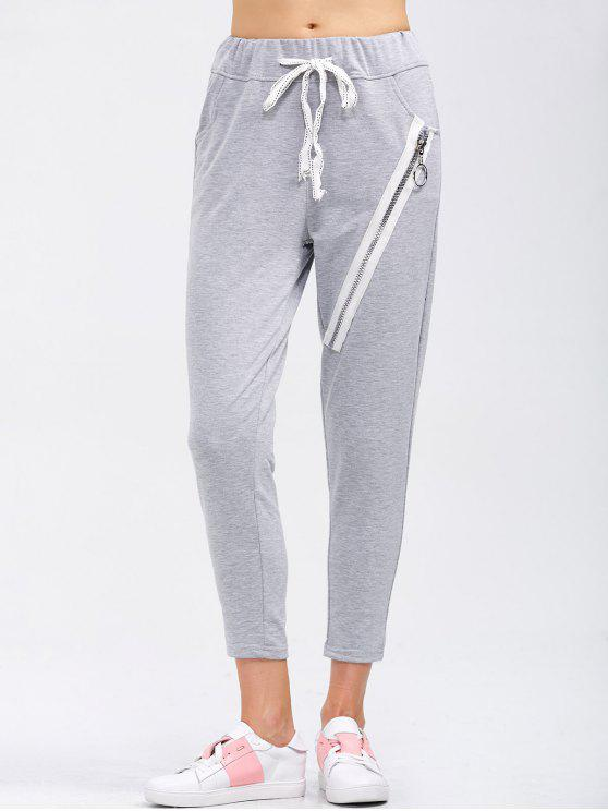 lady Drawstring Running Pants With Zipper - LIGHT GRAY S