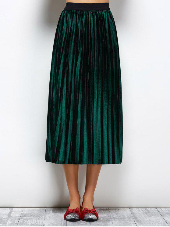 shop Accordion Pleat Midi Velvet Skirt - GREEN ONE SIZE