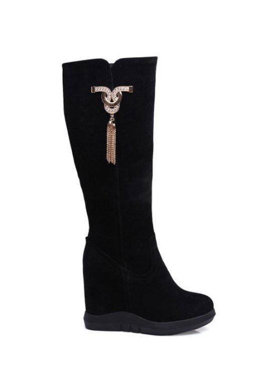 Botas Rhinestone do metal Tassel escondido Wedge - Preto 38