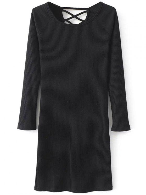affordable Strappy Long Sleeve Ribbed Sweater Dress - BLACK M