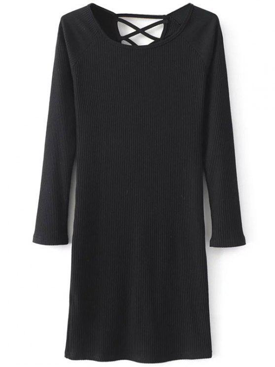Robe style pull côtelée à manches longues et à col rond - Noir M