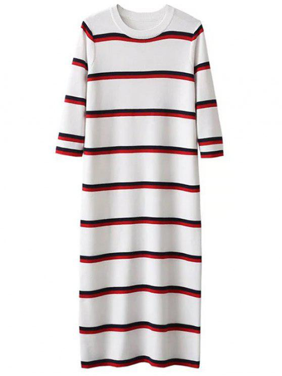 trendy Crew Neck Striped Jumper Dress - WHITE ONE SIZE