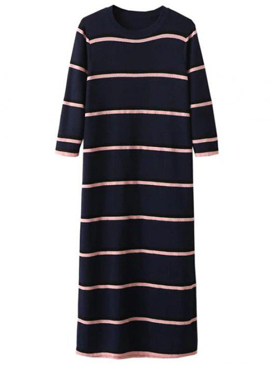affordable Crew Neck Striped Jumper Dress - PURPLISH BLUE ONE SIZE