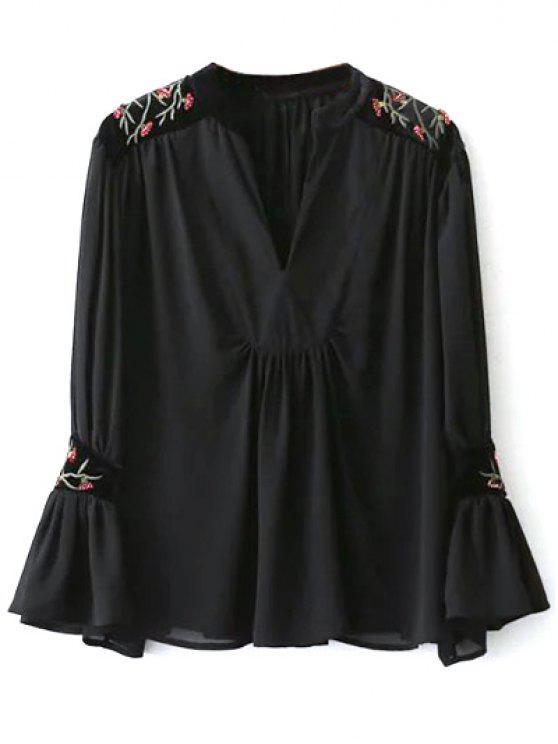 Blusa Cuello En V Terciopelo Bordado - Negro S