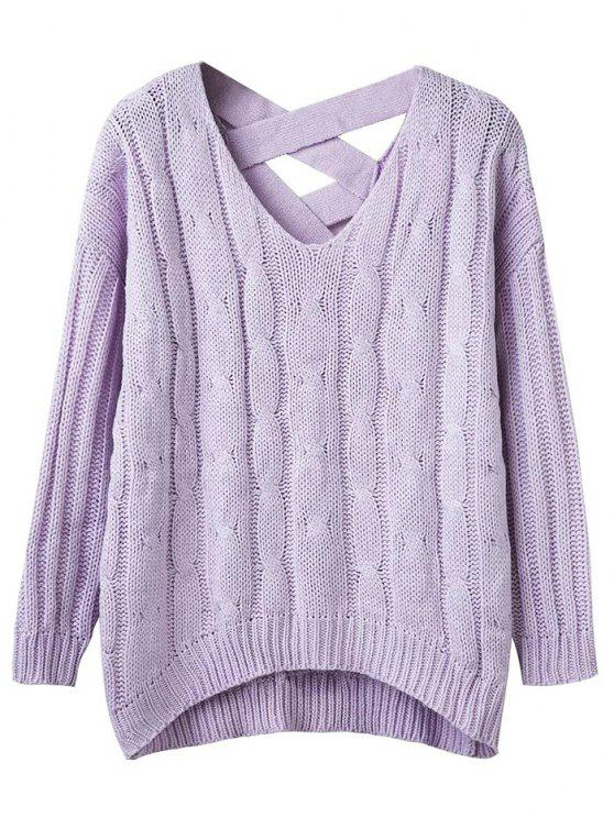 unique Cable Knit V Neck Chunky Sweater - LIGHT PURPLE ONE SIZE
