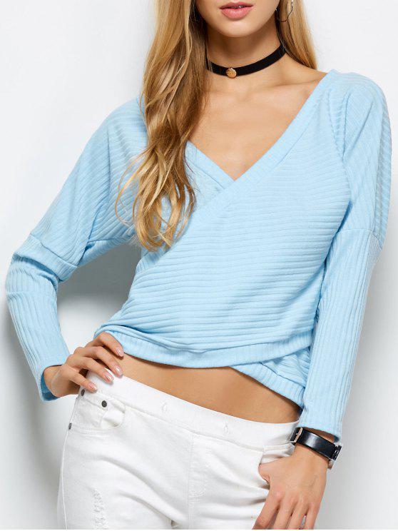 T-shirt côtelé à décolleté plongeant - Bleu Léger  XL