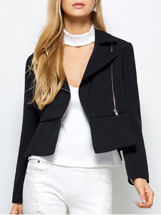 Con cremallera cuello solapa de la chaqueta - Negro M