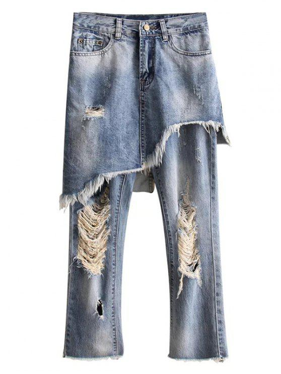 latest Ripped Skirted Jeans - DENIM BLUE M