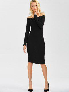 Off Shoulder Bodycon Long Sleeve Dress - Black S