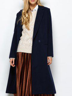 Manteau En Tissu Des Laines Et Du Coton Avec Poches à Col Revers  - Bleu Violet Xs