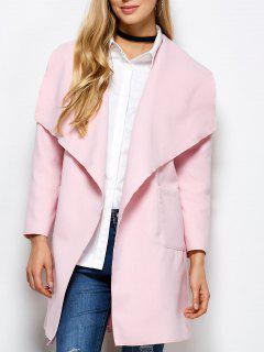 Wrap Woolen Coat With Pockets - Pink M