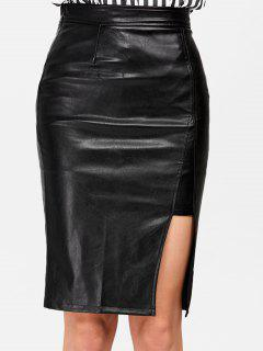 Faux Leather Slit Plain Skirt - Black S